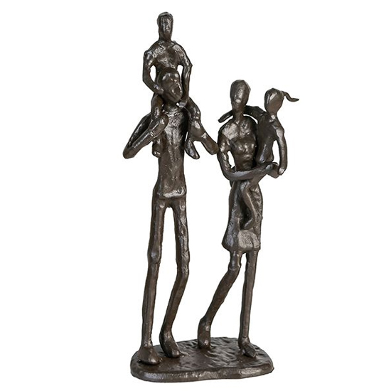 View Family iron design sculpture in burnished bronze
