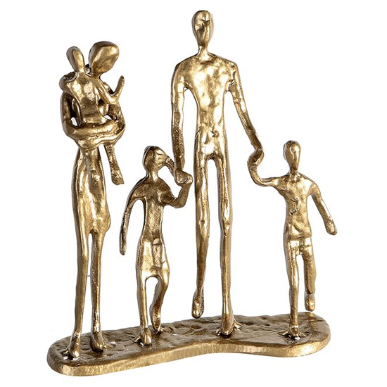 View Family iron design sculpture in gold