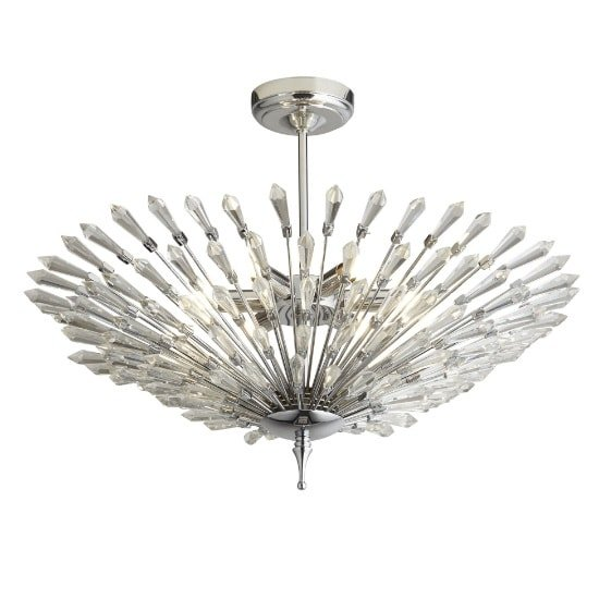 Fan 6 Light Ceiling Pendant In Chrome With Clear Glass Trim