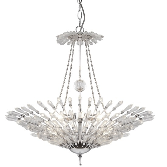 Fan Ceiling Pendant In Chrome With Clear Glass Trims