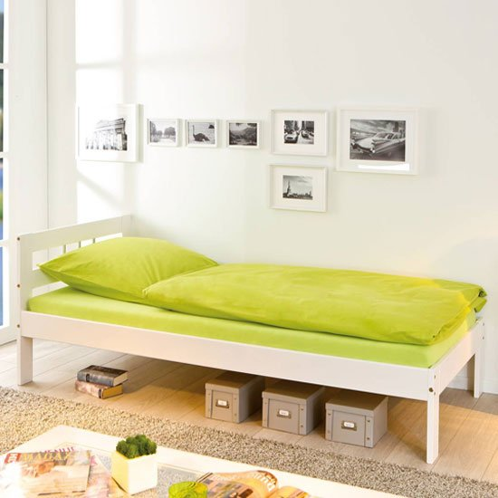 Fana Wooden Single Bed In White