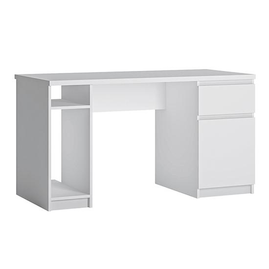View Fank 1 door 1 drawer twin pedestal computer desk in white