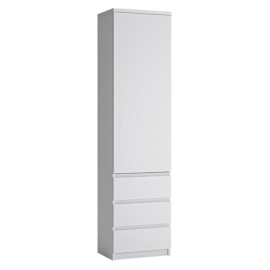 View Fank tall narrow 1 door 3 drawer storage cabinet in alpine white