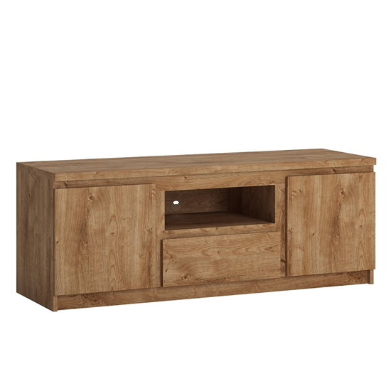 Fank Wooden Small 2 Doors 1 Drawer TV Stand In Ribbeck Oak