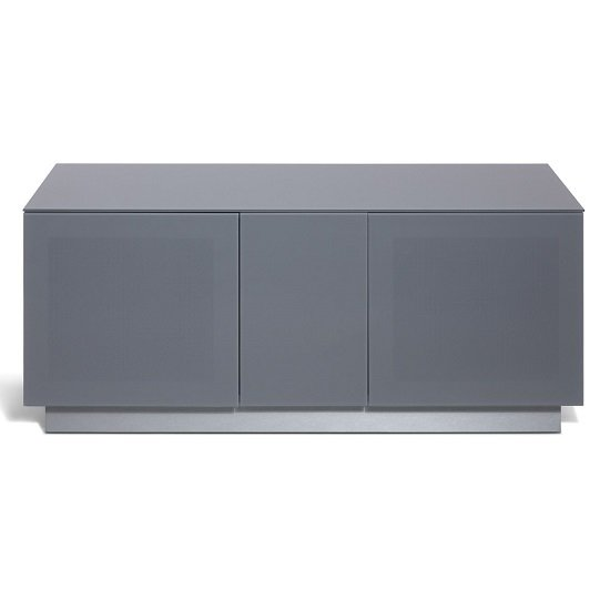 Faraday Small TV Stand In Grey With Glass Door