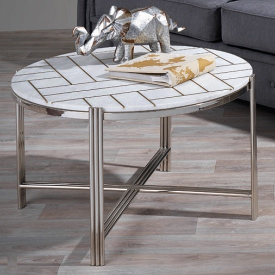 Farah Marble Coffee Table Round In White With Nickel Finish