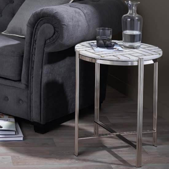 Farah Marble Side Table Round In White With Nickel Finish