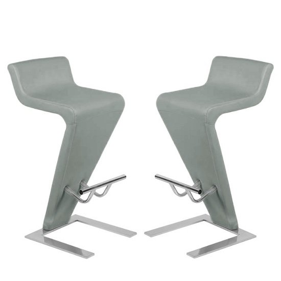 Farello Bar Stools In Charcoal Grey Faux Leather in A Pair