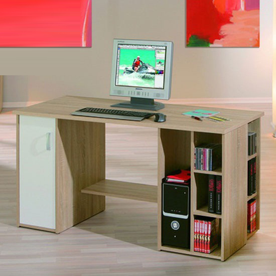 Farneti Computer Desk With Shelves For the Home Office in Wood