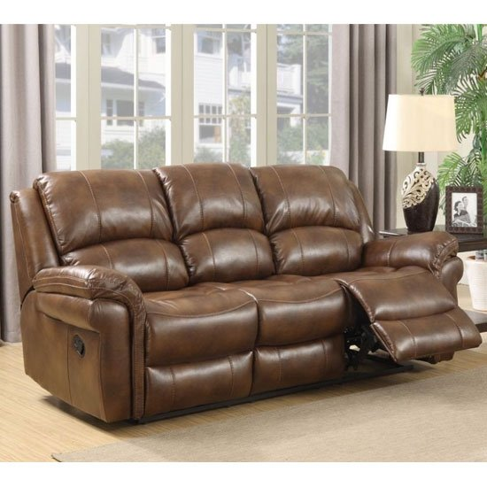 Farnham Leather 3 Seater Electric Recliner Sofa In Tan