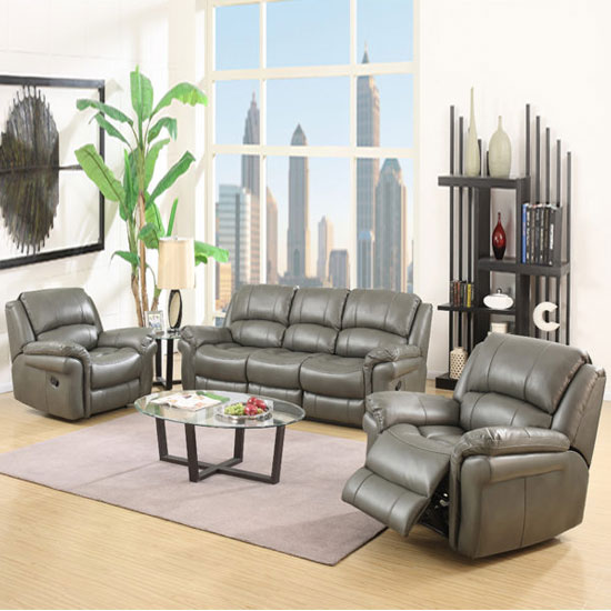 Farnham Leather 3 Seater Sofa And 2 Armchairs Suite In Grey