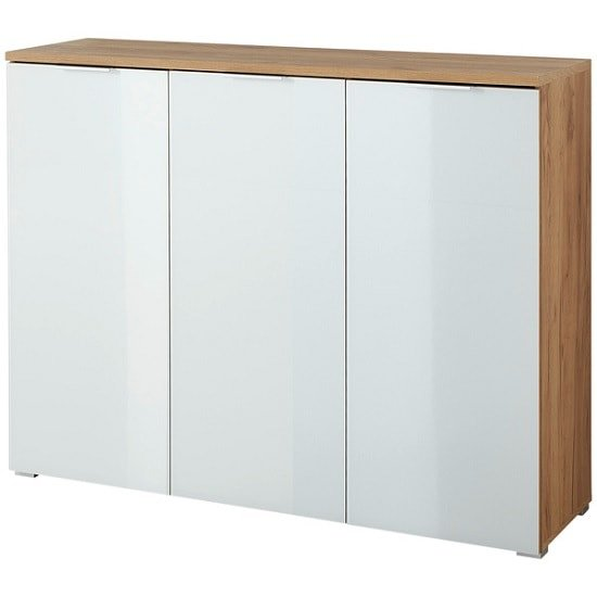 Farnham Shoe Cabinet In Navarra Oak With White Glass Fronts