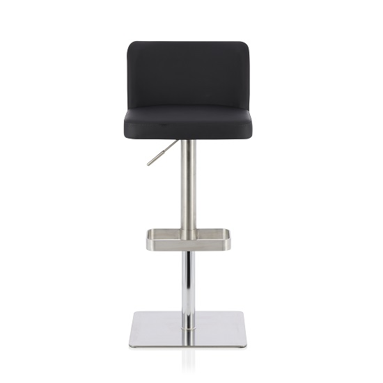 Farnum Bar Stool In Black Faux Leather And Stainless Steel Base