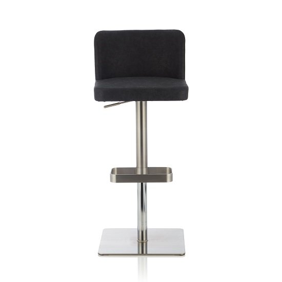 Farnum Retro Bar Stool In Black PU And Stainless Steel Base