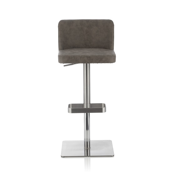 Farnum Retro Bar Stool In Grey PU And Stainless Steel Base