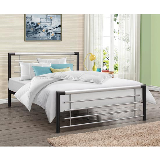 Faro Steel Double Bed In Black And Silver