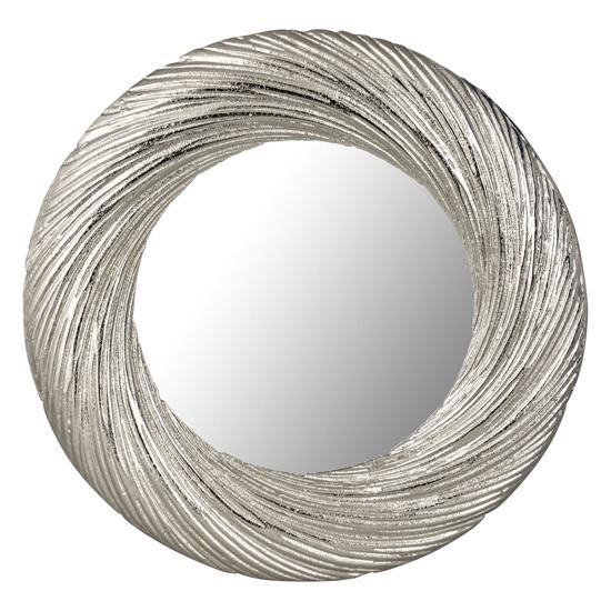 Farrago Large Circular Wall Mirror In Silver Frame