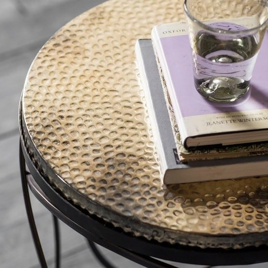 Farrah Metal Round Side Table In Gold And Black_2