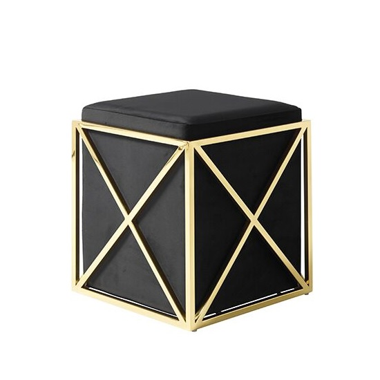 Farran Stool In Black Velvet And Gold Plated Stainless Steel_3