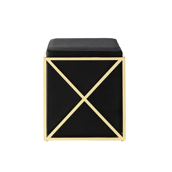 Farran Stool In Black Velvet And Gold Plated Stainless Steel_2