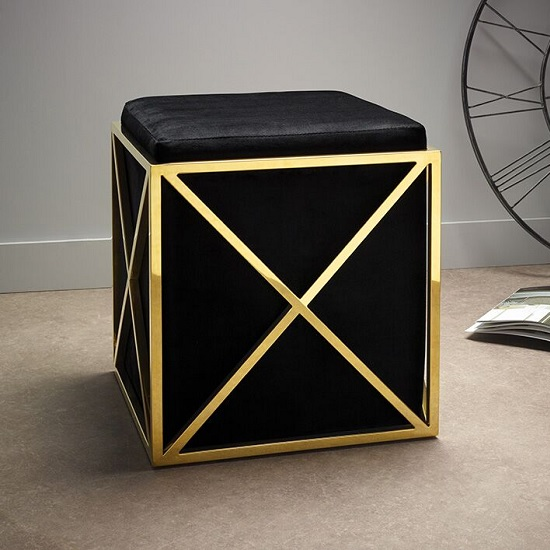 Farran Stool In Black Velvet And Gold Plated Stainless Steel_1