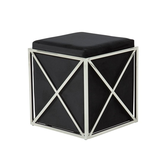 Farran Stool In Black Velvet With Polished Stainless Steel