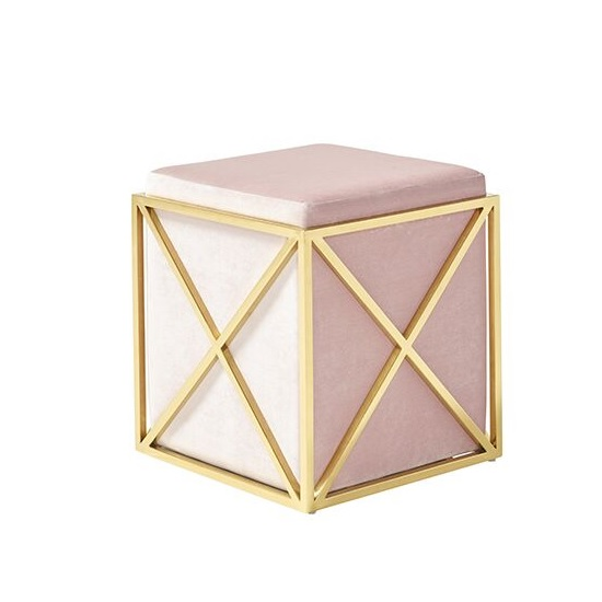 Farran Stool In Pink Velvet With Gold Plated Stainless Steel