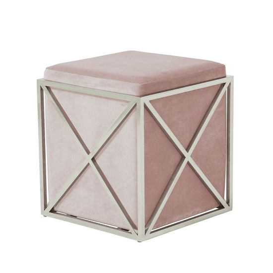 Farran Stool In Pink Velvet With Polished Stainless Steel
