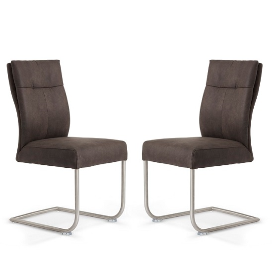 Farren Cantilever Dining Chair In Anthracite PU In A Pair_1