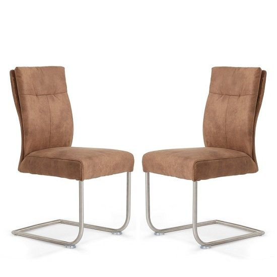 2 Faux Leather Chairs Brown Dining Chairs Chrome Cantilever Office Side Chairs Home, Furniture & DIY Furniture