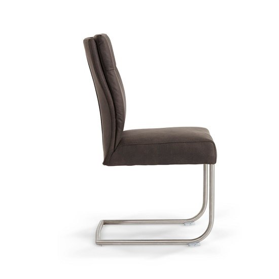 Farren Cantilever Dining Chair In Anthracite PU In A Pair_2