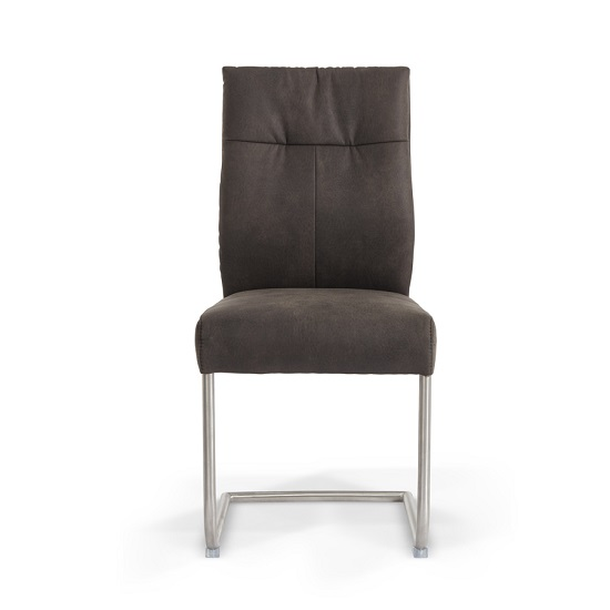 Farren Cantilever Dining Chair In Anthracite PU In A Pair_3