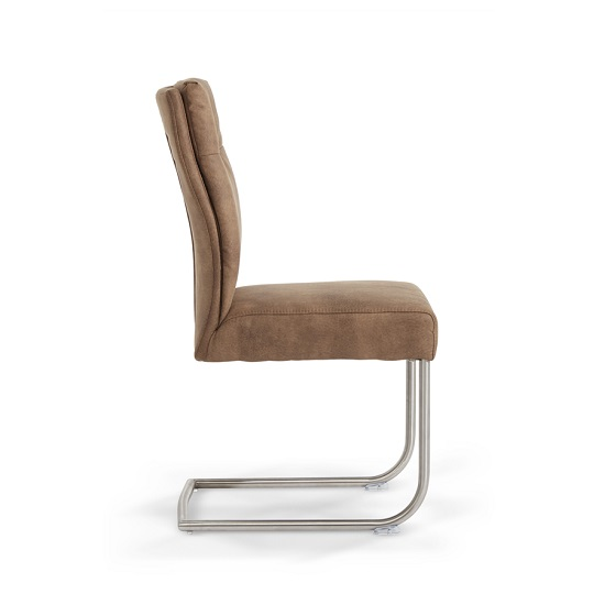 Farren Cantilever Dining Chair In Brown Faux Leather In A Pair_2