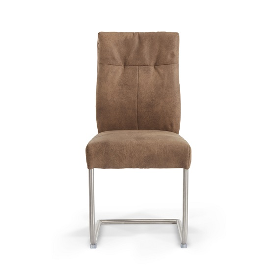 Farren Cantilever Dining Chair In Brown Faux Leather In A Pair_3