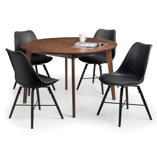 Farringdon Round Dining Set In Walnut With 4 Kari Black Chairs_2
