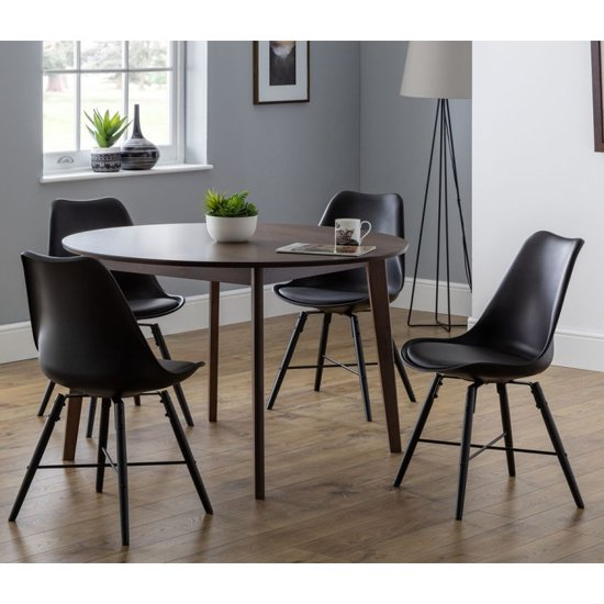 Farringdon Round Dining Set In Walnut With 4 Kari Black Chairs