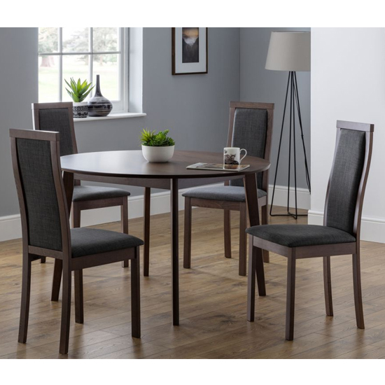Product photograph showing Farringdon Round Dining Set In Walnut With 4 Melrose Chairs