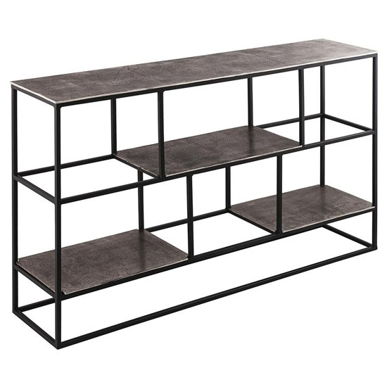 Farron Metal Shelving Unit In Silver With 3 Shelves