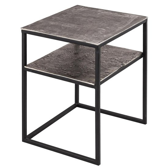 Farron Small Metal Side Tables In Silver With Undershelf