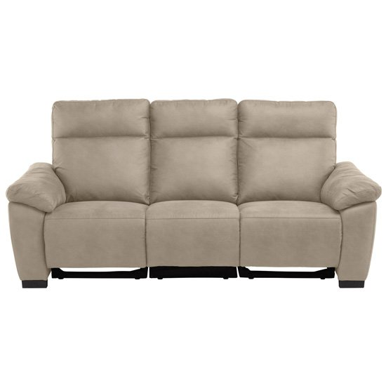 Farrow Fabric Electric Recliner 3 Seater Sofa In Natural
