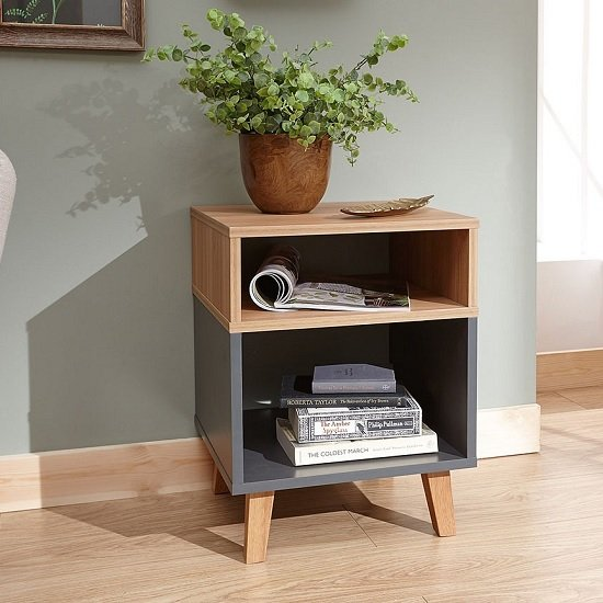 Farrow Wooden Lamp Table In Grey And Oak Effect