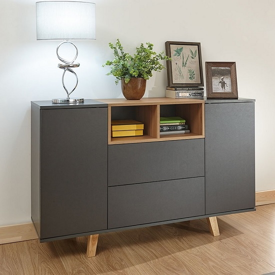 Farrow Wooden Sideboard In Grey And Oak Effect With 2 Doors