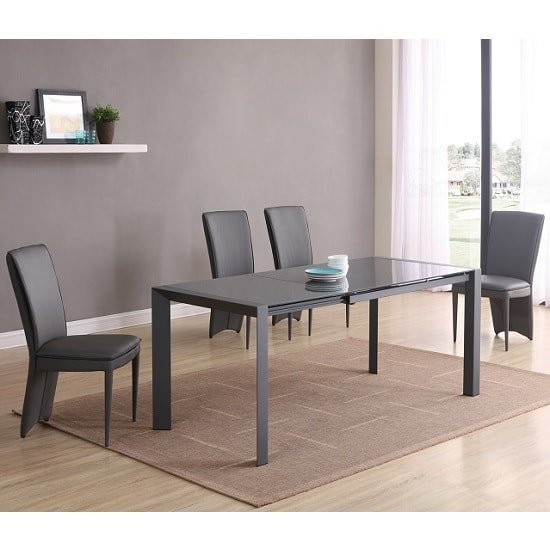 Farum Glass Extendable Dining Table In Matt Grey 4 Ergo Chairs
