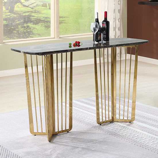 Fastro Black Marble Console Table With Gold Stainless Steel Legs Furniture In Fashion