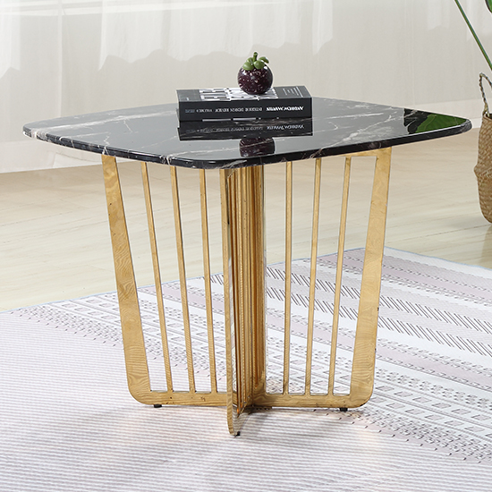 Fastro Black Marble Side Table With Gold Stainless Steel Legs