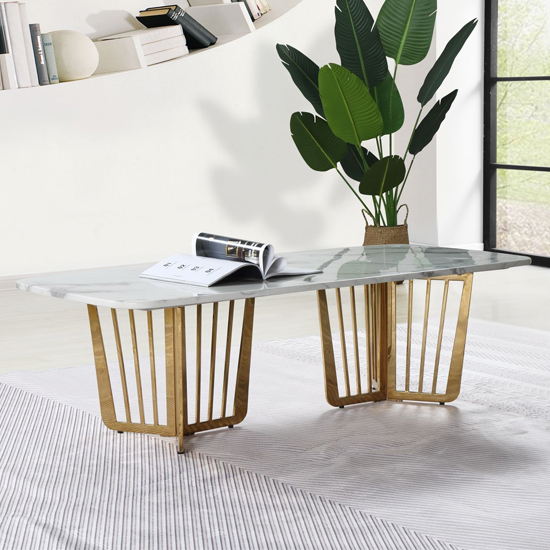 Fastro White Marble Coffee Table With Gold Stainless Steel Legs