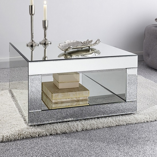 Fausto Mirrored Square Coffee Table With Undershelf