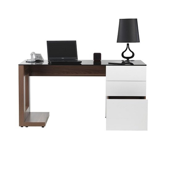 Felisa Wooden Computer Desk In Walnut