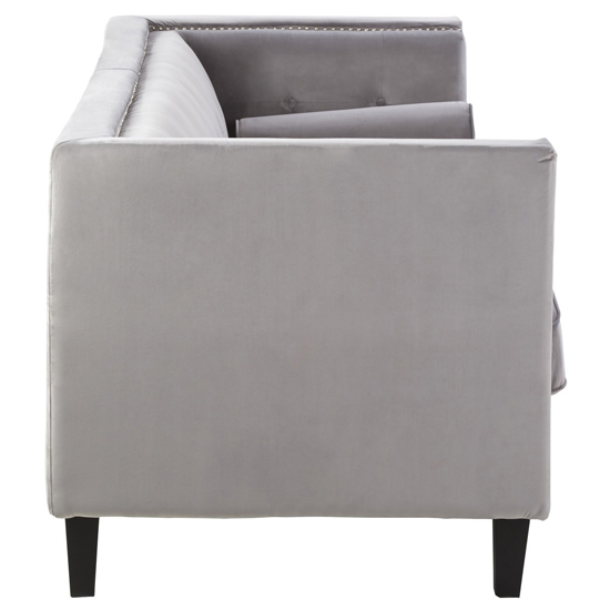 Felisen Velvet Upholstered 3 Seater Sofa In Grey_2