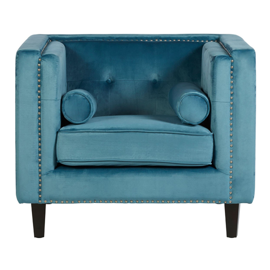 Felisen Velvet Upholstered Armchair In Blue